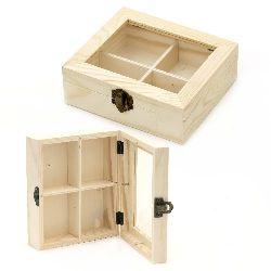 Cutie din lemn fereastră 150x130x50 mm 4 diviziuni
