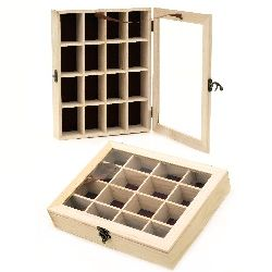 Wooden box with window and metal clasp 270x210x50 mm  16 sections