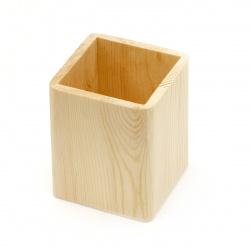 Wood pencil holder 80x80x100 mm