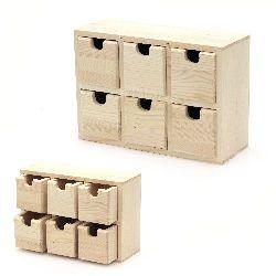 Кутия дървена 210x75x145 мм шест чекмеджета