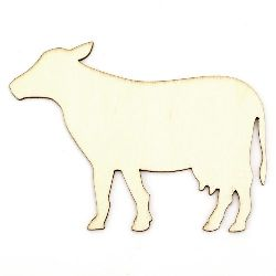 DIY Wooden embellishment cow for coloring 110x80x2 mm - 5 pieces