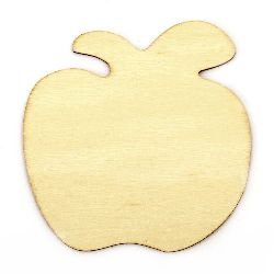 DIY Wooden embellishment apple for coloring 90x90x2 mm - 5 pieces