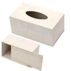 Cutie din lemn 200x110x90 mm pentru șervețele, cu capacul culisant alb