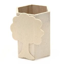 Wood pencil holder 80x70x100 mm with decoration white