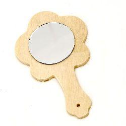 Oglindă din lemn de 80x135 mm floare cu mâner alb