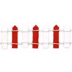 Decorative Wooden Fence 900x30 mm white and red
