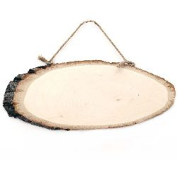Oval shaped unfinished wooden slice with rope  280~300x100~120mm
