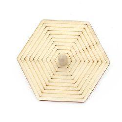 Pompal din lemn de 75x3 mm hexagonal alb