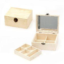 Cutie din lemn cu oglinda 150x120x70 mm diviziuni pe doua niveluri
