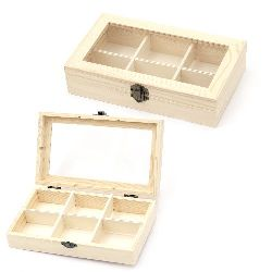 Wooden box with window and metal clasp 220x130x50 mm  6 sections