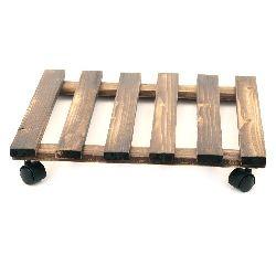 Suport cu roți din lemn de 400x400 mm din lemn închis la culoare