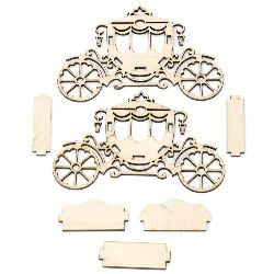 Wooden Chariot, Decoration, Set Contain 7 pieces, 60x160x100mm