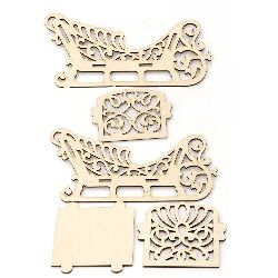 Set of 5 pieces for assembling, wooden carriage for Christmas decoration 240x130x100 mm