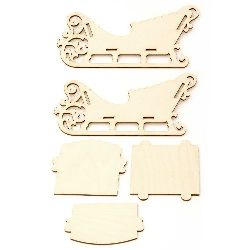 Set of Wooden carriage for decoration of 5 parts 240x130x100 mm №6
