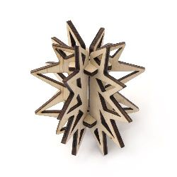 Wooden openwork 3D  ornament for Christmas decoration, appropriate for painting, sprinkle with glitter 75mm