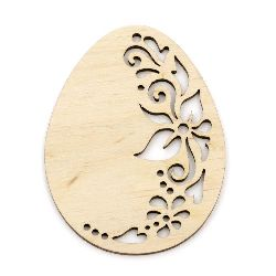 Unfinished wooden figurine, ornamented with flowers egg for decoration 80x60x3 mm №V12