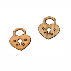 Wooden figurine padlock for decoration  26x25x2 mm - 10 pieces