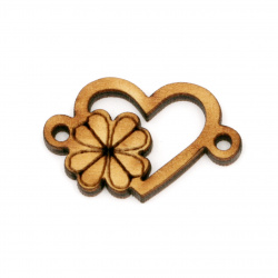 Wooden heart for  decoration with clover 35x20x3 hole 3 mm - 10 pieces