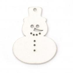 Wooden Christmas pieces snowman 35x50 mm white -6 pieces