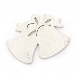 Christmas Wooden figures for coloring Bells 50x40x2 mm white - 6 pieces