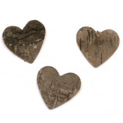 Figurine heart tree bark 44x46 mm - 4 pieces