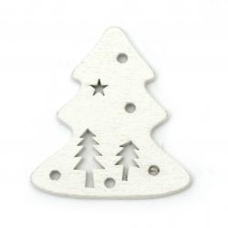 Коледни фигурки дърво елха 45x50 мм бели -6 броя