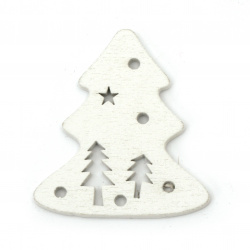 Cracuin figura brad de copac   45x50 mm alb -6 bucăți