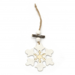 Christmas decoration tree hanging snowflake 10x0.5 cm white and natural -1 piece