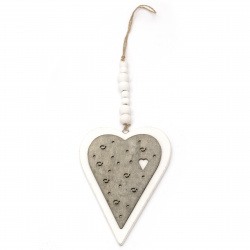 Decoration hanging tree heart 15.5x10.2x0.8 cm two colors white and gray -1 piece