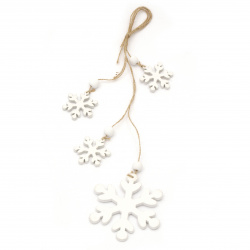 Коледна декорация дърво висяща 38 см 4 снежинки 47x5 мм и 98x5 мм бели -1 брой