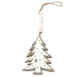 Коледна декорация дърво висяща ЕЛХА 11x15x0.8 см сива и бяла -1 брой