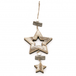 Decoration wood CHRISTMAS STAR 11.5x25x1.5 cm natural with white -1 piece