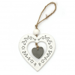Pendant wood 2 in 1 heart 9.2x10x0.6 cm white and gray -1 piece