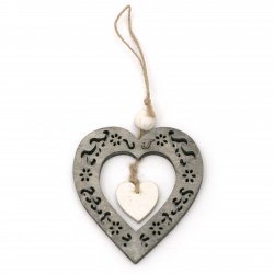 Pendant wood  2 in 1 heart 9.2x10x0.6 cm gray and white -1 piece