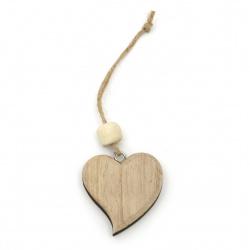 Висулка дърво 3D сърце 56x61x14 мм натурално -1 брой