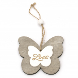 Butterfly wooden figure 100x88x7 mm with the inscription LOVE gray and white - 1 pieces