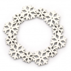 Wooden Christmas wreath with white snowflakes 10x0.5 cm -1 piece