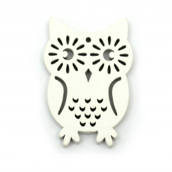 Wooden Pendant Owl  36x53x5 mm hole 2.5mm white - 6 pieces