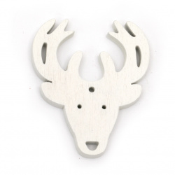 Wooden Pendant Deer head 46x55x5 mm hole 2.5mm white - 6 pieces