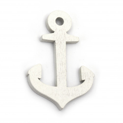 Wooden Pendant Anchor 39x58x5 mm hole 5 mm white - 6 pieces