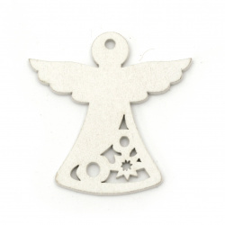 Christmas Wooden Angel figures 50x50x2 mm hole 3 mm white - 6 pieces