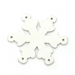 Christmas Wooden figures Snowflakes 50x50x2 mm hole 2 mm white - 6 pieces