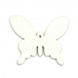 Wooden Figurine for coloring butterfly 50x41x2 mm white - 6 pieces