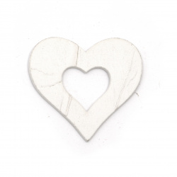 Wooden Figurine for coloring  heart 50x46x2 mm white - 6 pieces