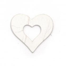 Figurina culoare  din lemn inima 50x46x2 mm alb - 6 bucăți