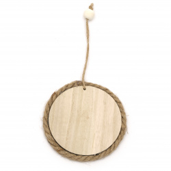 Wooden panel  for decoration with twine  100x8 mm round-1 piece