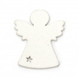 Christmas Wooden Angel figures 40x50 mm white - 6 pieces