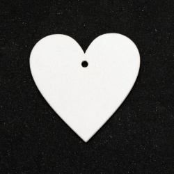 Wooden figurine heart for coloring 50x50x2 mm hole 2 mm white -6 pieces