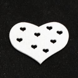 Καρδιά ξύλινο διακοσμητικό 50x36x2 mm λευκό -6 κομμάτια