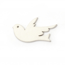 Wooden Figurine swallow 48x31x2 mm white - 6 pieces